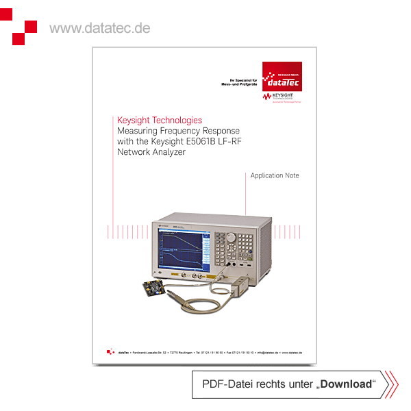 Application Note 5990-5578EN | Measuring Frequency Response with E5061B LF-RF Network Analyzer