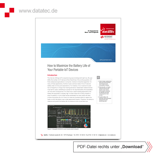Application Note 5992-3198EN | Maximize the Battery Life of IoT Devices