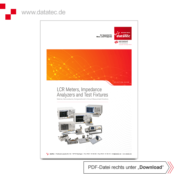 Auswahlhilfe (Selection Guide) 5952-1430E | LCR-Meters, Impedance Analyzers & Test-Fixtures