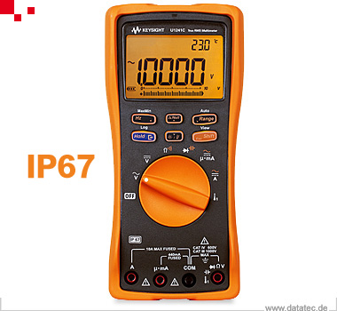U1241C | Multimeter, TRMS, 4 ½, ACV / DCV, IP67